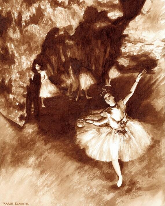 Coffee Art Prima Ballerina Painted Using Only Coffee Degas