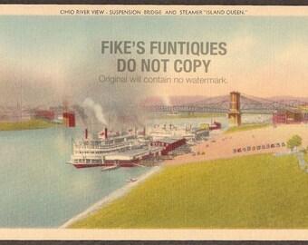 Cincinnati, Ohio Vintage Linen Postcard - Ohio River, Suspension Bridge, Island Queen Steamer (Unused)