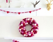 Valentine's Day Garland, Felt Heart Needle Felted Wool, Pink Red Fushcia, Love Wedding Romantic
