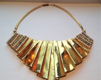 Gorgeous rare 80s Gianni De Liguoro Italian gold runway necklace //statement piece // greek goddess // rhinestone // high fashion // couture