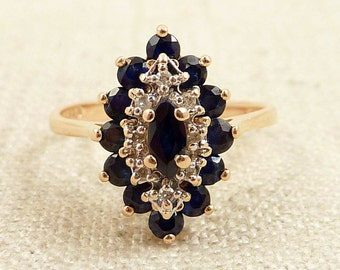 Size 6.5 Vintage Sapphire and Diamond 14K Gold Ring