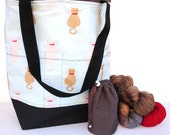 Studio Tote Extra Large Knitting Project Crochet WIP Tote Bag and Tot - Sittin' Kitty