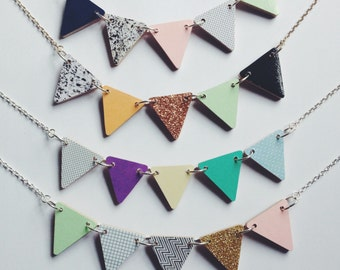 Bunting Triangle Bunting Necklace - Frost, Pyrite, Polka or Sorbet