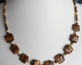 Necklace — Tiger's Eye Squares, Tiger's Eye Rounds, Beige Freshwater Pearls