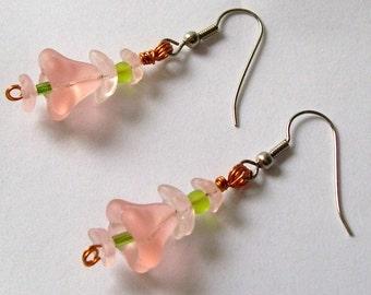 Flower Earrings, Pink and Green Flower Earrings Beaded Earrings