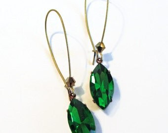 Crystal Dagger Earrings - Bright Green Earrings - Jewelry Gift - August Birthstone - Bridesmaid Gift - KATANA Green