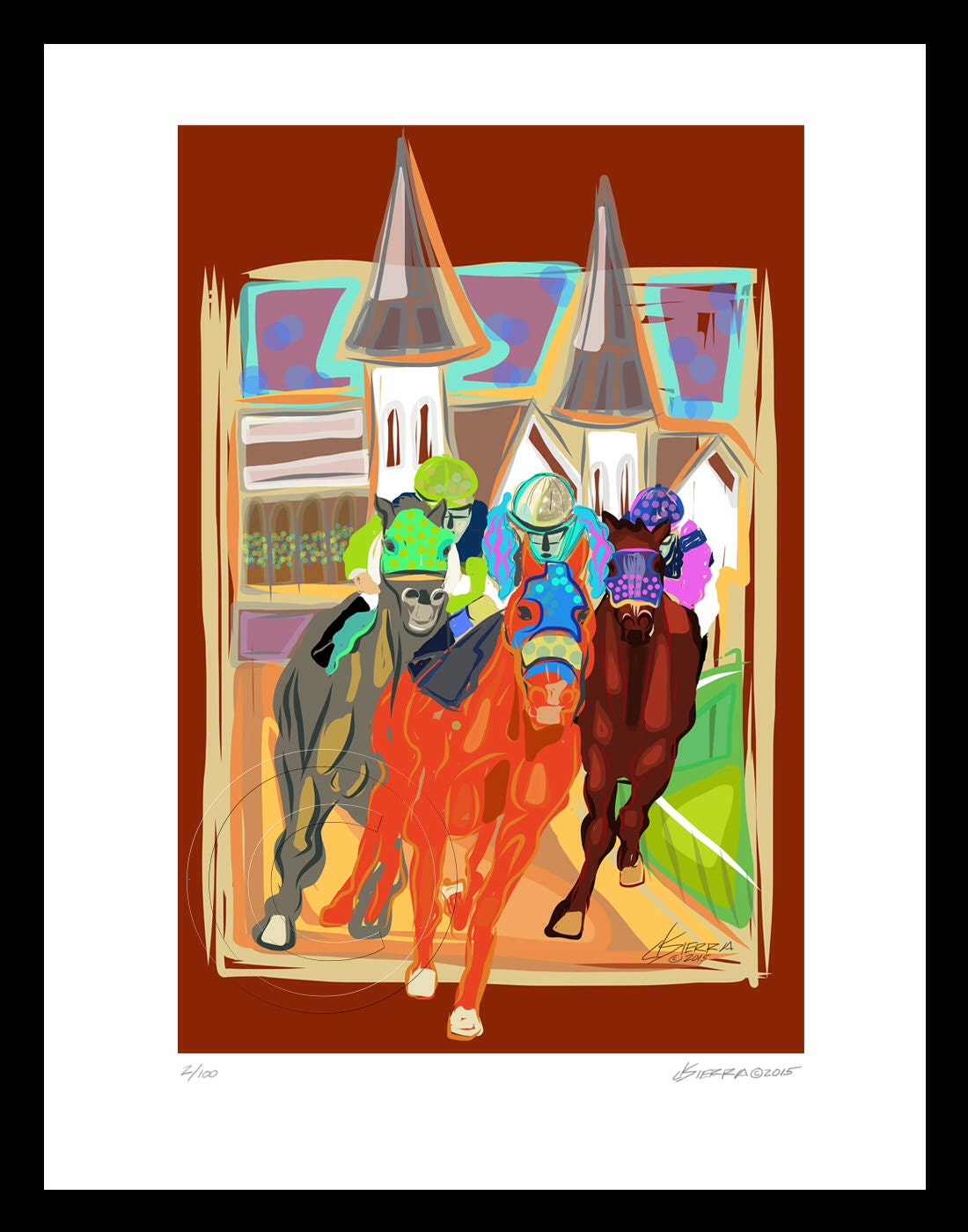 Kentucky Derby Horses Modern Expressionist Signed Giclee Print