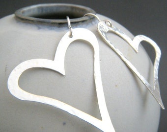 large heart earrings. sterling silver dangles. hammered sterling silver heart earrings. giant big dangle jewelry drop earring. gift for her