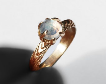 Solid Gold and Moonstone Cuttlefish Cast Claw Ring