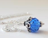 Royal Blue Bridesmaid Jewelry, Simple Crystal Pendant in Antiqued Silver, Beaded Cobalt Wedding Jewelry, Bridal Party Accessories, Handmade