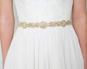 Gold Bridal Sash | Rhinestone Wedding Belt | Gold Crystal Bridal Sash | Gold Bridal Sash [Brontë Belt]
