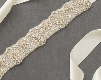 Rhinestone Bridal Sash | Wedding Dress Sash | Crystal Bridal Sash | Beaded Bridal Sash [Asteria Sash]