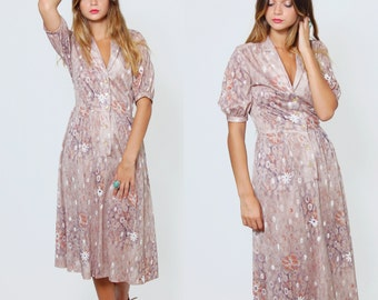 Vintage 80s FLORAL Dress Abstract Print Day Dress Taupe DEADSTOCK Short Sleeve Midi Dress