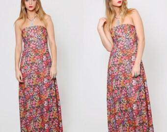 Vintage 70s FLORAL Sun Dress STRAPLESS Maxi Dress DITZY Floral Print Dress Hippie Dress