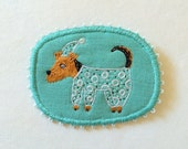 Brooch - Good night Terrier - Airedale in pyjama, Funny Dogs -collection, hand embroidered pet jewellery