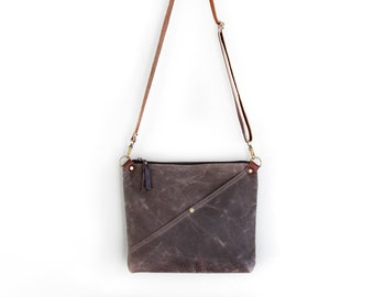 Waxed Canvas Day Bag Purse in Brown with an Exterior Pocket