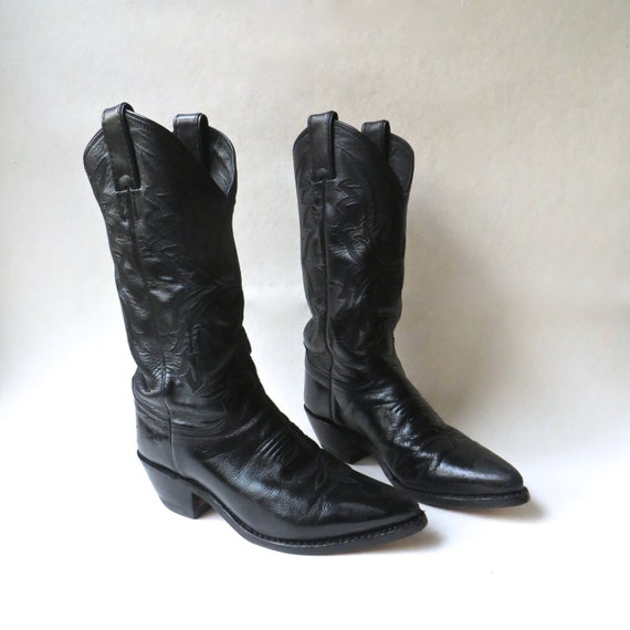 distressed vintage justin black leather cowboy boots