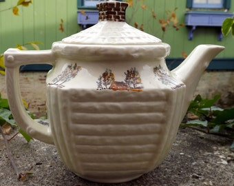 Vintage Porcelier Vitrieous China Teapot Log Cabin design made in USA