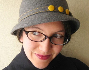 Heathered Grey Wool Felt Hat With Goldenrod Yellow Felt Buttons