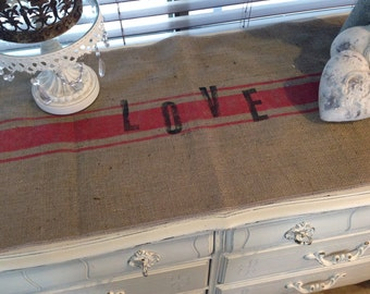 Burlap Ruffled Table Runner  Grain Sack Love