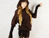 Batwlin - batwing stile brown hooded dress with leather art appliques.