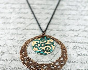 Vintaj, Vintaj Jewelry, Bohemian Jewelry, Hand Stamped Necklace, Bohemian Necklace, Brass Necklace, Hand Painted Jewelry, Hammered Necklace,