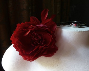 RED Silk Cupped Rose for Bridal, Sashes, Corsages, Bouquets, Millinery MF132