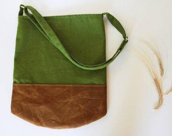 Sling Bag in Green Canvas and Caramel Brown Waxed Canvas.