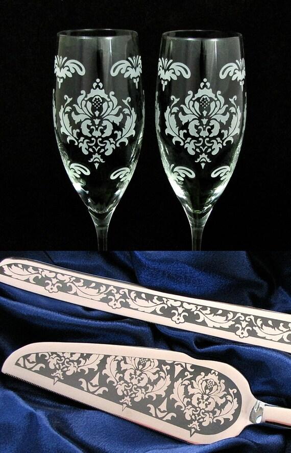 personalized damask wedding cake server and knife champagne. Black Bedroom Furniture Sets. Home Design Ideas