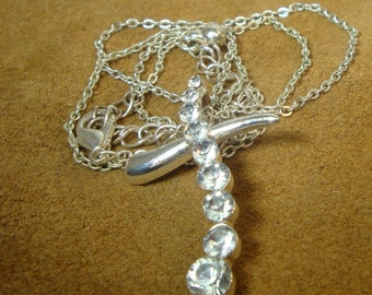 Christian CROSS, TINY White Rhinestone Pendant on Thin Silver Chain, Never Used 1980s