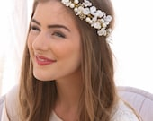 Ivory Flower Crown of Delicate Flowers and Gold Accents, Boho Wedding Headpiece, Garden Wedding Hair Wreath Floral Bridal Hair Wreath
