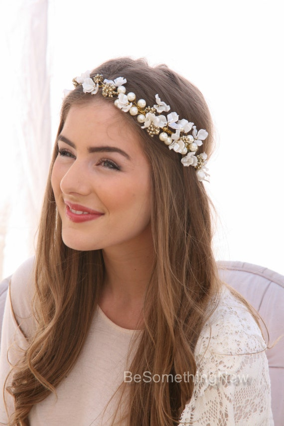 flower crown wedding hair ivory flower crown of delicate flowers and gold accents boho 4156