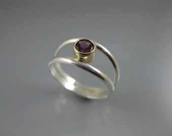modern suspended rhodolite garnet gemstone ring - 14k gold and silver, gold and silver ring, birthstone ring, purple-red ring, fine jewelry