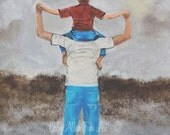 "Father And Son Art Print Dad Son Daddy Boy Family Fathers Day ""Daddy's Little Man"" Leslie Allen Fine Art"