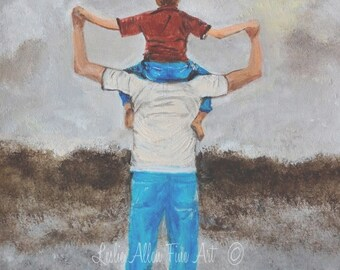 """Father Art Father Son Art Print Dad Son Big Brother Daddy Boy Family Fathers Day """"Daddy's Little Man"""" Leslie Allen Fine Art"""