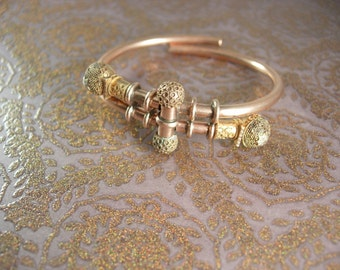 Reserved for Lor Antique 1882 9KT rose Gold bracelet Victorian ETRUSCAN Ball Bypass engagement  march21 estate jewelry