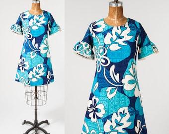 Vintage 1960s Blue Hawaiian Dress, 60s Tiki Floral Ethnic Print Cotton Mini Dress, Beach Resort Boho Dress, Women's Clothing, Dresses