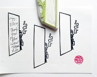 detective rubber stamp - man in suits stamp - hand carved stamp - write notes on the wall - father's day crafts