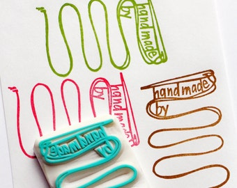 handmade by personalized stamp. sewing custom made hand carved rubber stamp. craft stamp for artist maker. diy label tags. choose option
