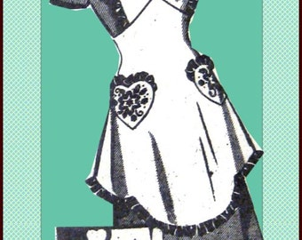 Vintage 1940s-ONE YARD APRON-Mail Order Sewing Pattern-Empire Waist-Heart Shaped Pockets-Ruffle Trim-Shaped Hem-Transfer-Size Medium-Rare