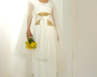 White maxi wedding dress-Maxi wrap wedding gown dress-Maxi white dress set-Ethnic dress--Made to order