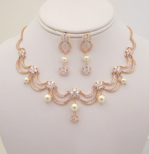 Rose gold bridal necklace rose gold bridal by treasures570 for Bridesmaid jewelry sets under 20