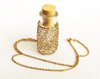 Tiny Bottle Necklace Wire Weave