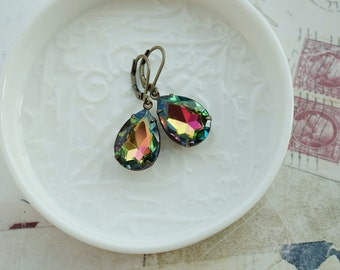 A Rainbow Vitriol, Volcano, Vintage Pear, Teardrop Vintage Jewel Earrings. Rainbow colors. Colorful. Gifts for Her.  Maid of Honor.
