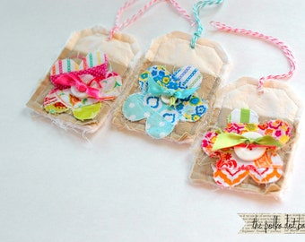 handmade fabric flower tags, set of 3 shabby chic flower tags