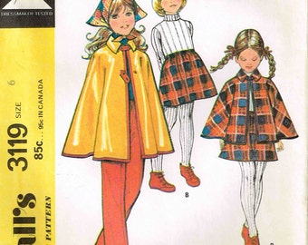 Girls Collared Cape Skirt and Pants Children McCalls 3119 Vintage 1970s Sewing Pattern Cloak Coat Size 6
