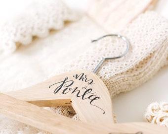 Custom Calligraphy Wedding Hanger for Bride or Bridesmaid
