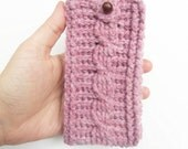 Cable Stitch iPhone Cozy in Rose Heather, ready to ship.