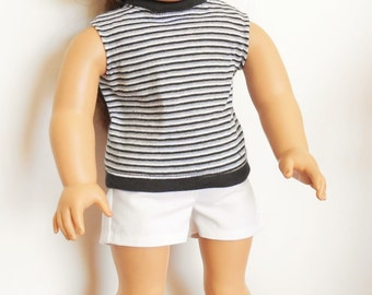 SALE - Striped cotton knit top with white shorts fits American Girl