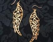 Ready to Ship - Angel Wings Earrings - 22K Gold Gilded Brass